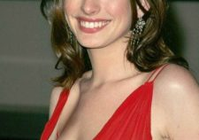 Anne Hathaway Sexy Hot Top Red Dress Naked Boobs Images