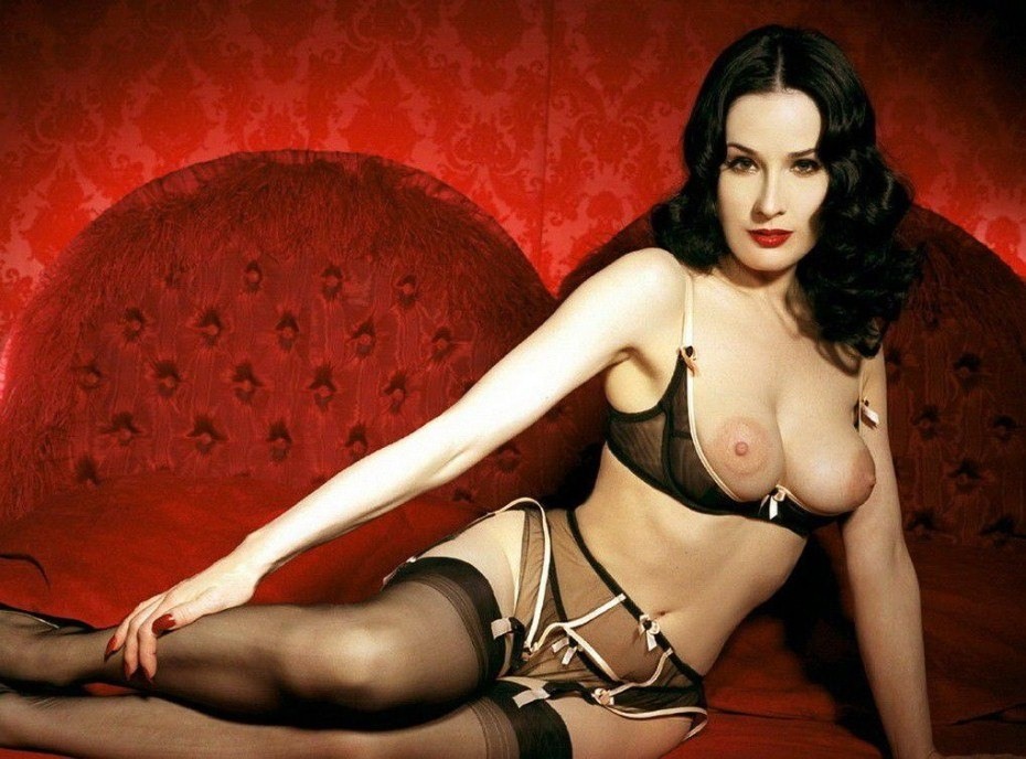 Dita Von Teese Nude Topless On Bed