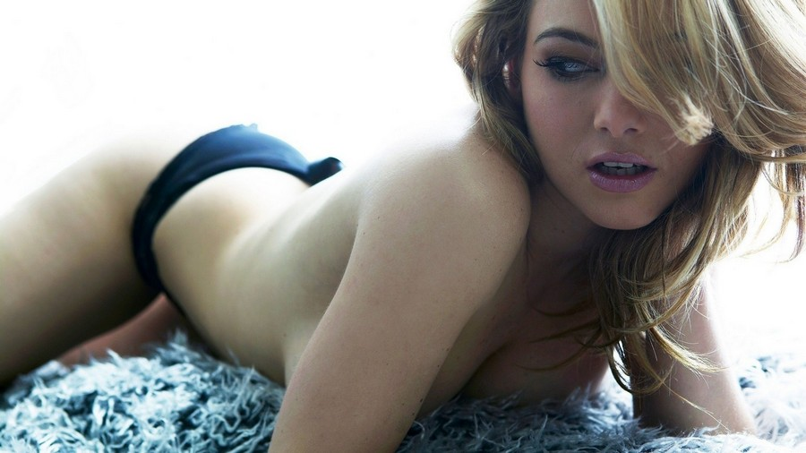 Fluffy Carpet Topless Blonde Girl Black Panties