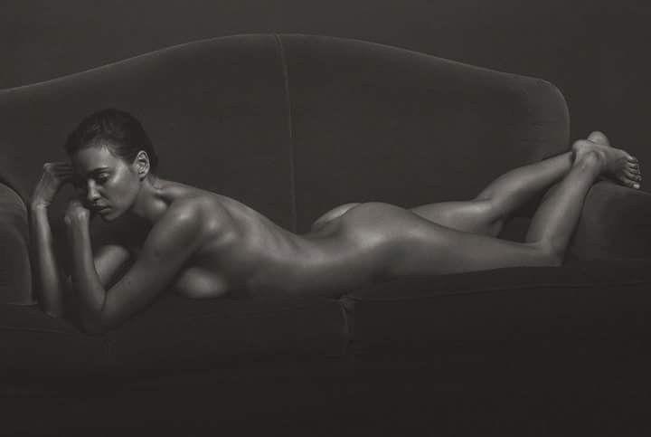Irina Shayk Nude Completely Posing Black And White Photo