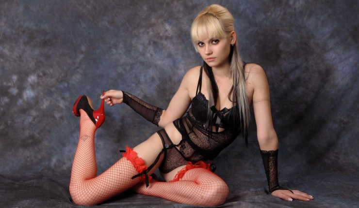Kristina Blonde Lingerie Hot Sexy Teen Legs Heels Fishnet Stockings