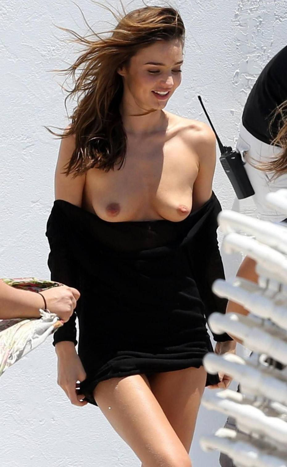 Miranda Kerr Breasts Slip Out During Outdoor Photoshoot