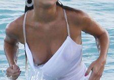 Nina Agdal Nude Boobs Slips Wet Shirt