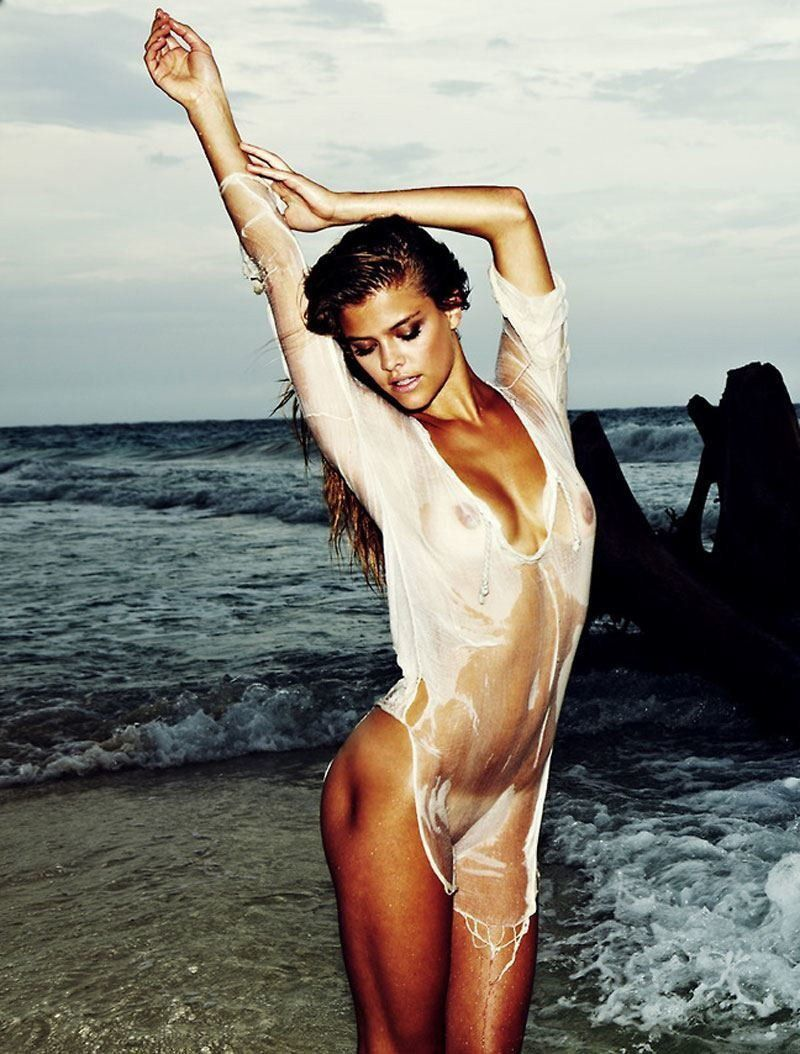 Nina Agdal Nude In Soaking Wet White Shirt