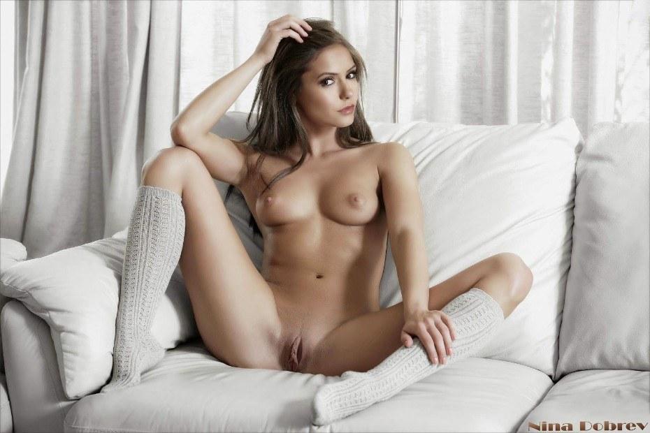 Nina Dobrev Nude Shows Tits And Vagina