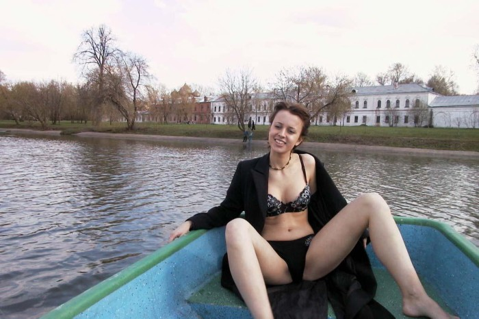 Porn Russian With Cute Boobs Unclothes In The Boat In The Middle Of The Park