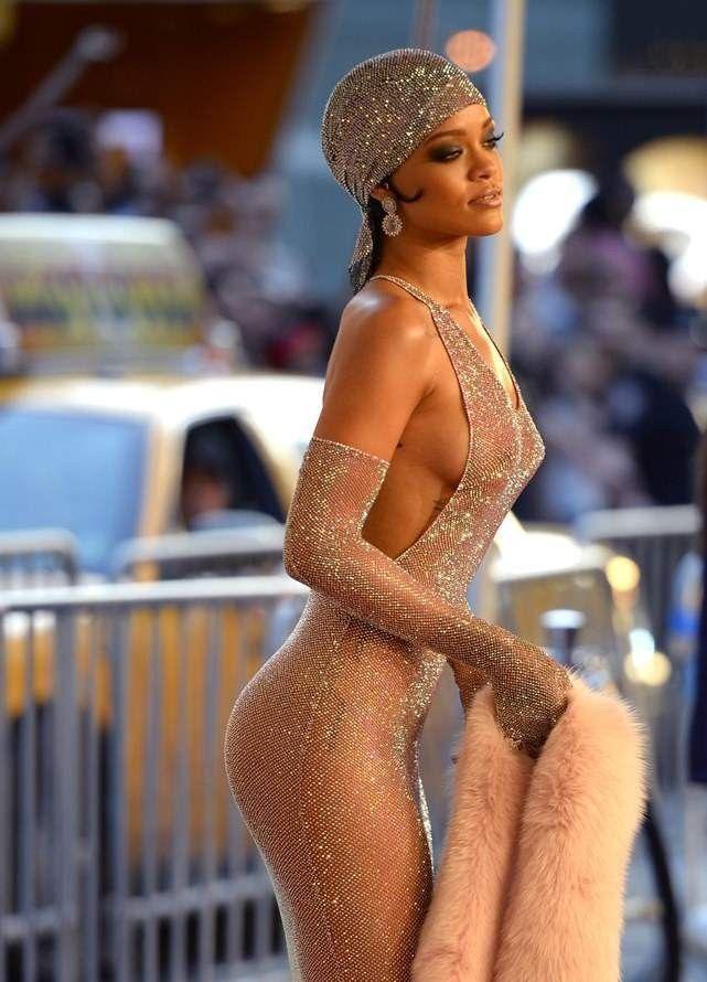 Rihanna Nude See Through Dress