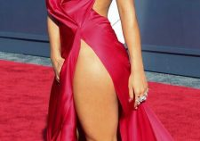 Rita Ora Nude Under Red Dress No Panties