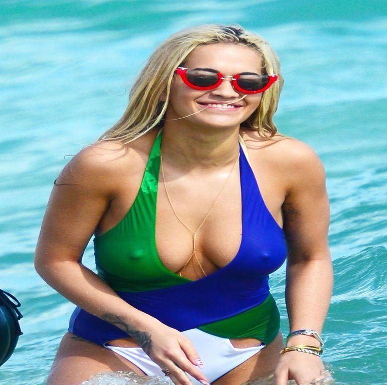 Rita Ora Sexy Bikini Topless Tits