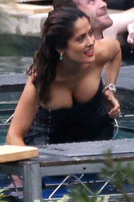 Salma Hayek Topless Busty Cleavage