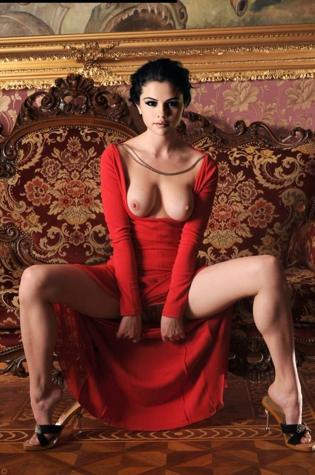 Selena Gomez Nude Topless Big Tits In Red Dress