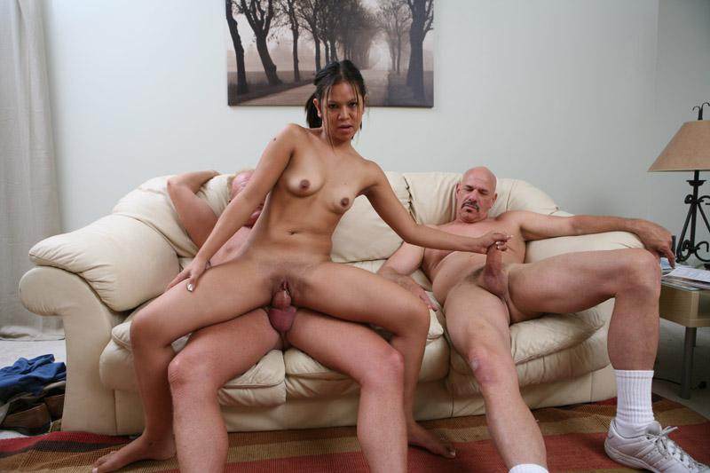 Small Latina In Threesome