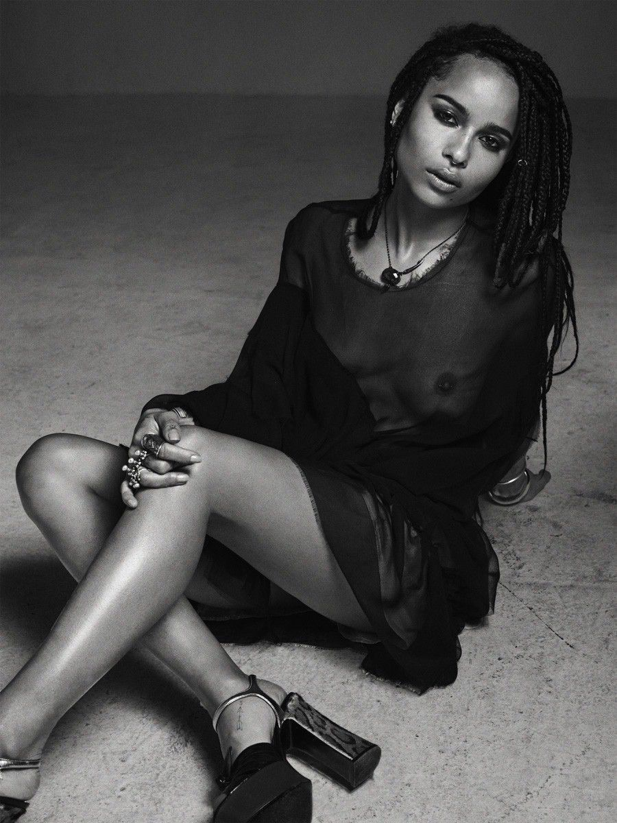 Zoe Kravitz Naked Topless See Through Dress