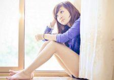 Asian Girl Long Beautiful Legs Windowsill Blue Shirt