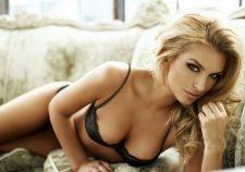 Beautiful Blonde Girl Makeup Black Lingerie Breast Nipple