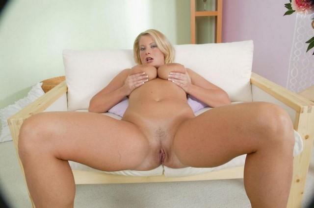 Big Boob Blonde Spread Pussy