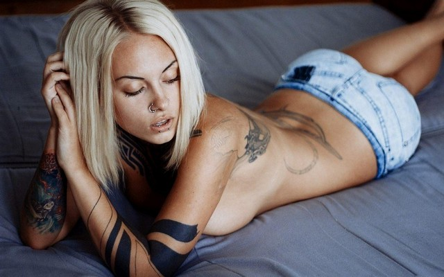Blonde Girl Covered Tattoos Topless Denim Shorts