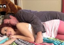 Beautiful redhead chick gets drilled by her mature lover