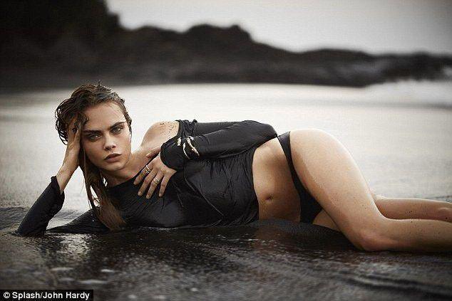 Cara Delevingne Hot Sexy In Black Bikini Images