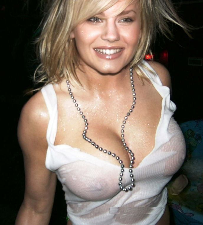 Elisha Cuthbert Nipples See Though White Dress
