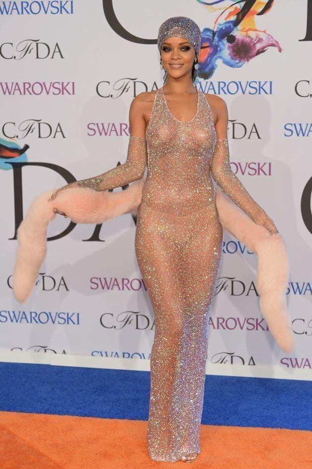 Rihanna Naked Topless See Through Dress