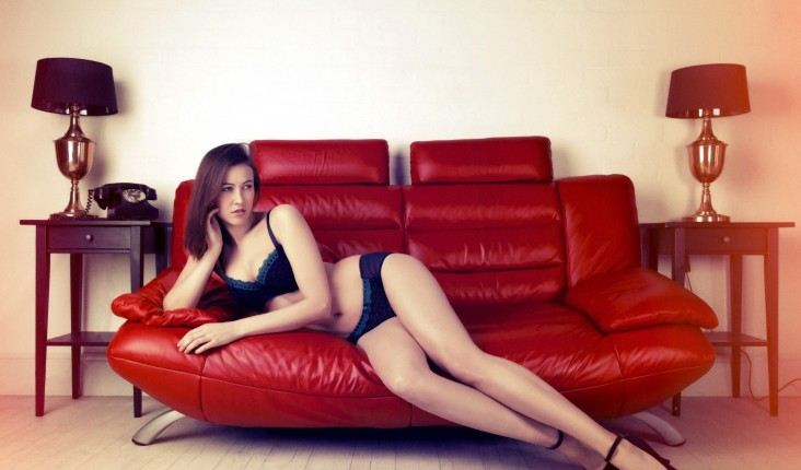 Lingerie Red Sofa Sexy Teen Long Legs