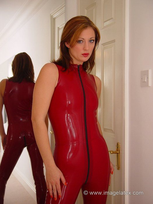 Red Latex Catsuit Porn