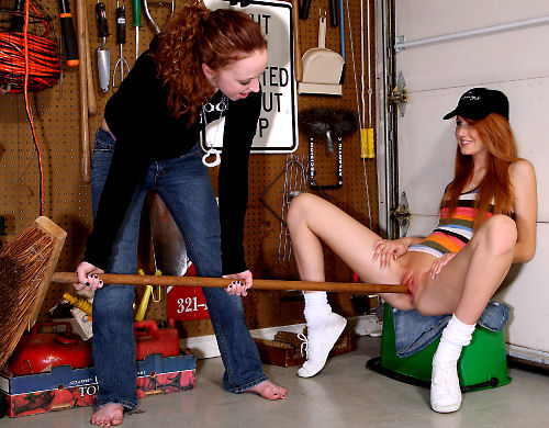 Redhead Rita Lovely Fucked With Broom Handle