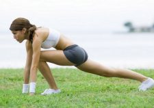 Woman Stretch Sport Brunette Grass