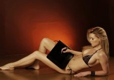 Anna Zsiros Black Bikini Laying
