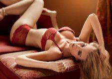 Blonde Girl Lingerie Red High Heel Sandals Lying Armchair